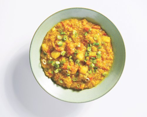 Persian Red Lentil and Potato Stew with Tomatoes and Lime