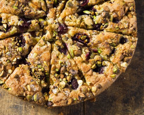 Almond-Coconut Cake with Cherries and Pistachios