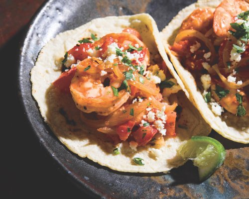 Seared Shrimp Tacos with Tomatoes and Cotija