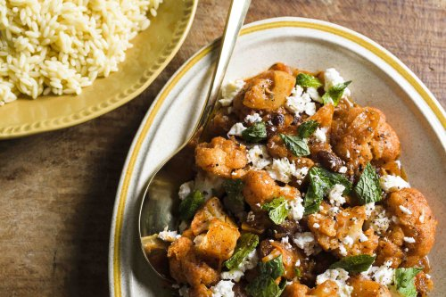 Tomato-Braised Cauliflower with Feta and Mint