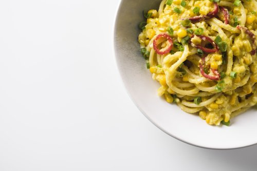 Bucatini with Sweet Corn and Scallions