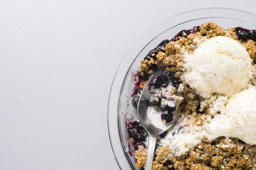 Blueberry Crumble with Oats and Tahini