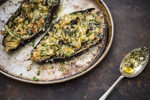 Grilled Eggplant with Sesame and Herbs
