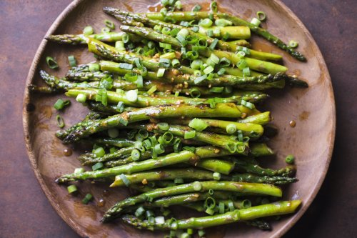 Pan-Roasted Asparagus with Sweet-Spicy Tahini Dressing