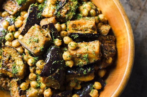 Spicy Egyptian Eggplant with Chickpeas and Herbs