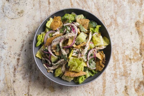 Fattoush with Chicken and Tahini-Sumac Dressing