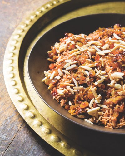 Red Rice with Almonds, Raisins and Fried Onions