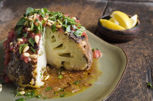 Cauliflower with Spiced Tahini and Garlic-Chili Oil