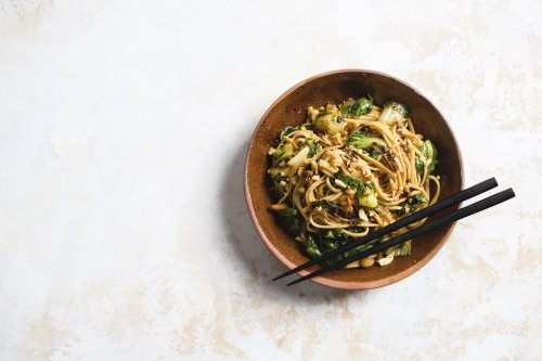 Chili-Soy Noodles with Bok Choy and Peanuts