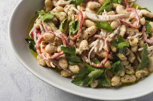 Spicy White Beans with Tahini, Lemon and Parsley