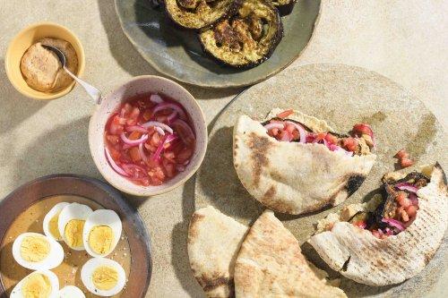 Charred Eggplant Pita Sandwiches with Spicy Tahini