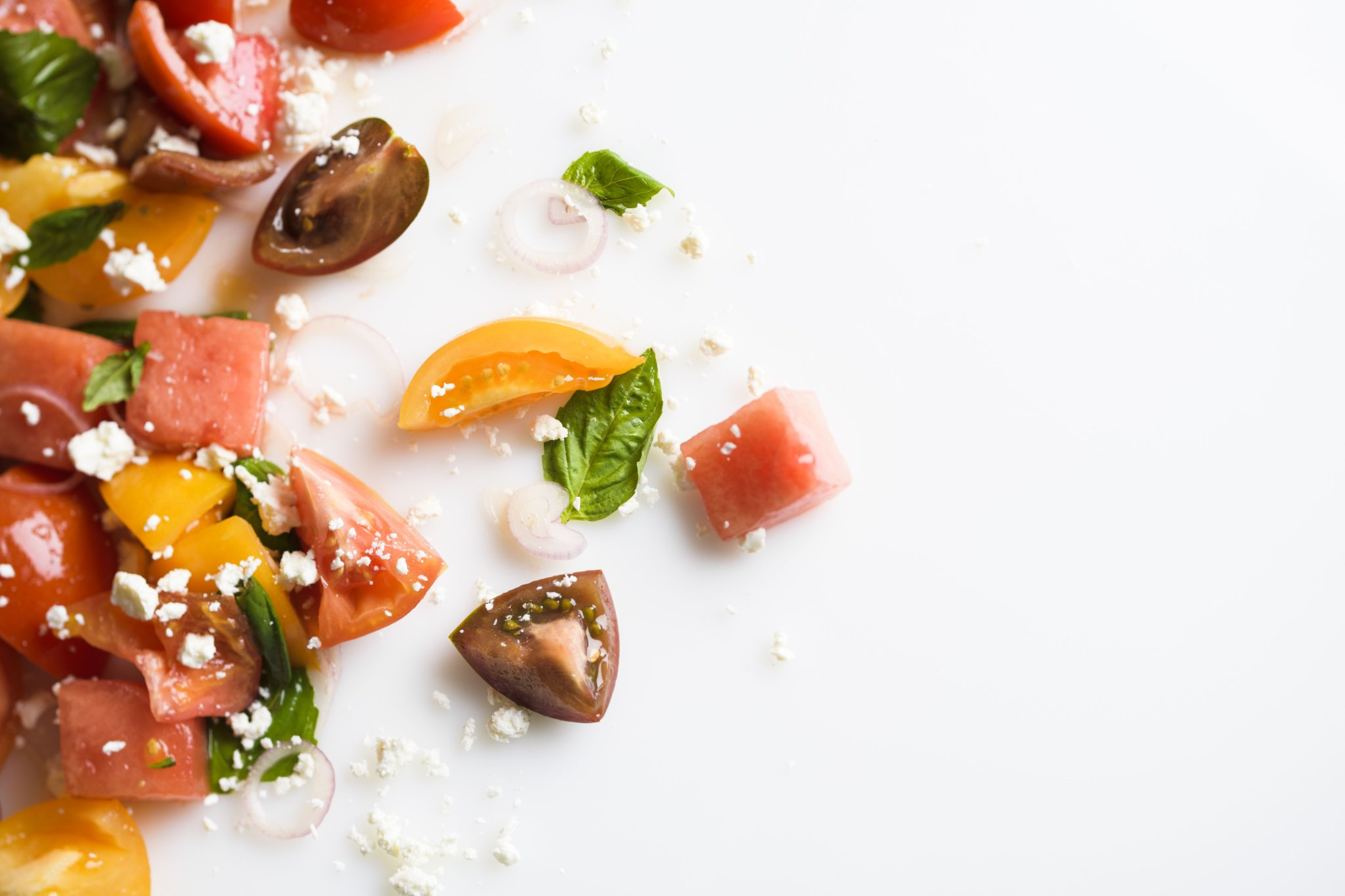 Tomato and Watermelon Salad with Basil and Goat Cheese