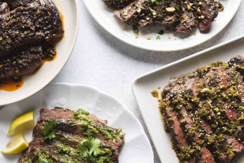 Pan-Seared Steak with Red Chimichurri