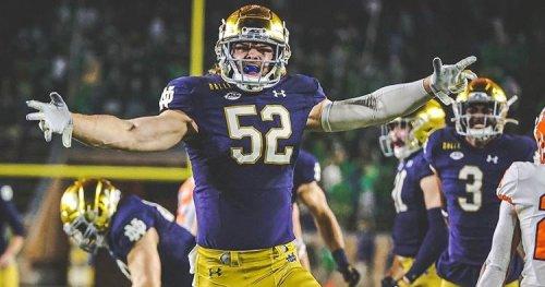 WATCH: Interception for Notre Dame Linebacker Bo Bauer