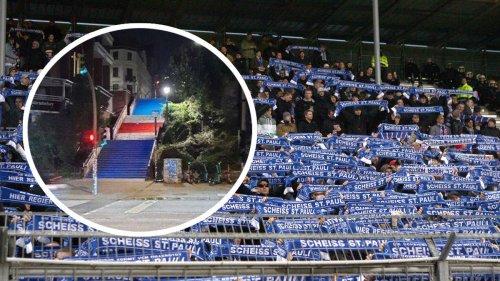 FC St. Pauli News: Hansa Rostock Fans beschmieren Treppe in Hamburg