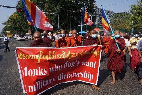 Buddhist monks in Myanmar split on anti-junta movement