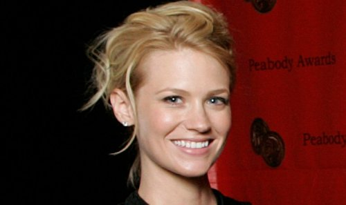 """January Jones Ditches Bra In Tight White Crop Top, """"Natural Beauty"""""""