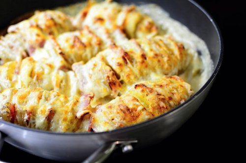Easy Hasselback Potatoes Recipe With Béchamel Sauce (aka Croque Monsieur Hasselback Potatoes)