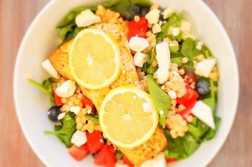 Healthy Salmon Salad Recipe: Lemony Mediterranean Salmon Salad Recipe With Couscous, Feta, Spinach & Blueberries