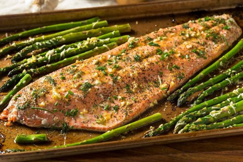 Sheet Pan Recipes: This Salmon & Asparagus Recipe With Garlic Butter & Herbs Is Ready in 20 Minutes
