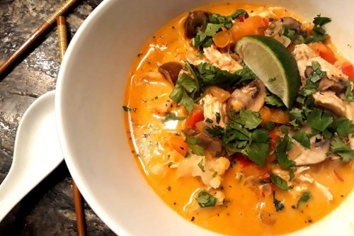 Creamy Thai Curry Chicken Soup Recipe With Rice Noodles Is a One-Pot Wonder