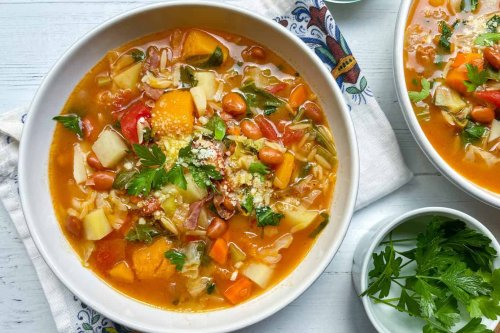 Minestrone Soup with Orzo and Kale
