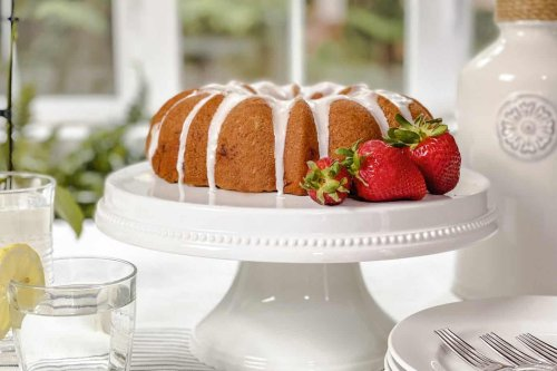 Strawberry Bundt Cake with Lemon Glaze