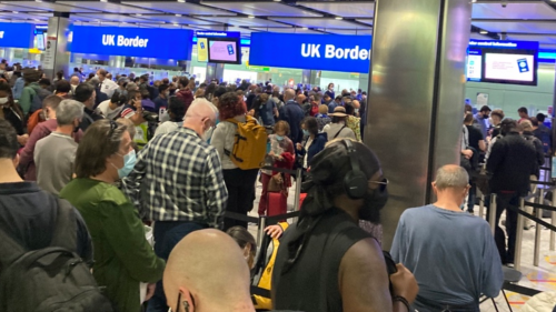 'Human logjam': Massive queues as e-gates go down at UK airports and people stuck on planes