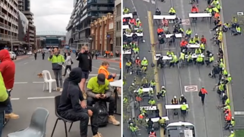 Melbourne tradies protest COVID tearoom ban again by having lunch on Sydney Road and Lonsdale Street