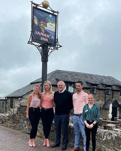 Scott Morrison slammed for 'tone deaf' photo outside a British pub while on G7 trip of England