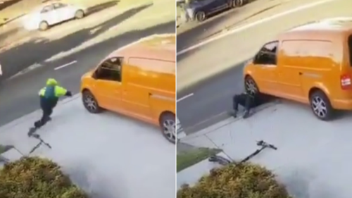 Horrific moment scooter rider is run over twice in Summer Hill by unsuspecting van driver