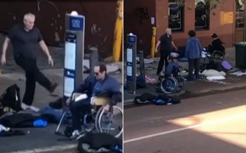 Perth nightclub owner Neil Scott filmed kicking homeless group's belongings into the street