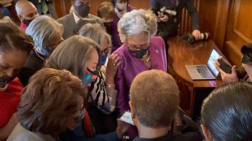 Congressional Black Caucus members listen to Derek Chauvin verdict
