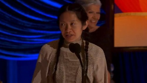 Chloé Zhao accepts the Best Picture Academy Award for her film 'Nomadland'