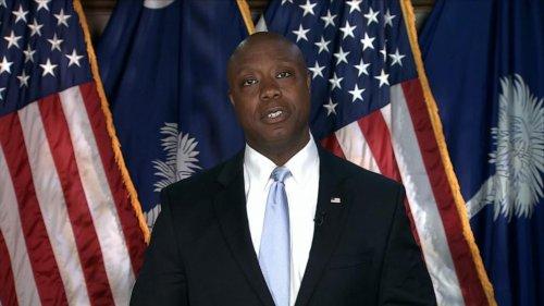 South Carolina Sen. Tim Scott speaks on behalf of Republicans
