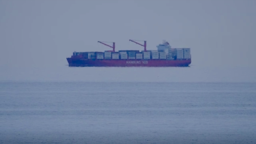 Huge ship appears to fly through the sky in one of nature's most incredible optical illusions