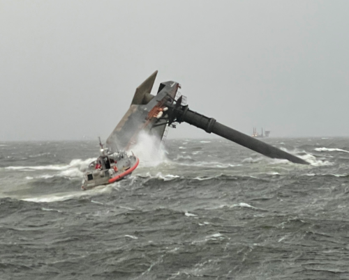 Rescue in the Gulf after severe storm capsizes ship