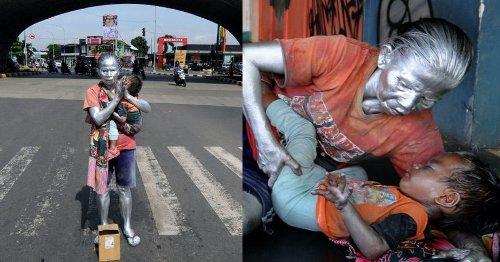 Abuelita trabaja como estatua viviente en cruceros para alimentar a su nieto de 2 años