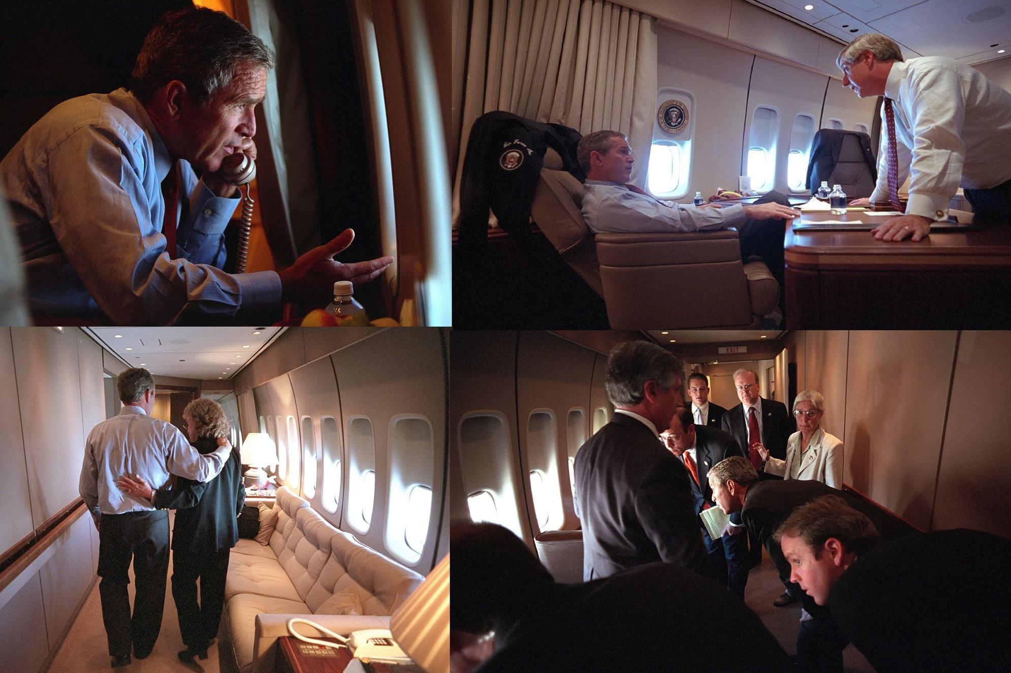 11 settembre, le ore di Bush sull'Air Force One dopo l'attacco