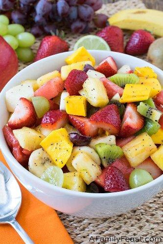 Fruit Salad with Honey Lime Poppyseed Dressing