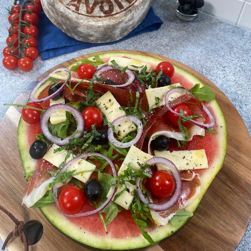 Salade pastèque Tomme de Savoie façon pizza