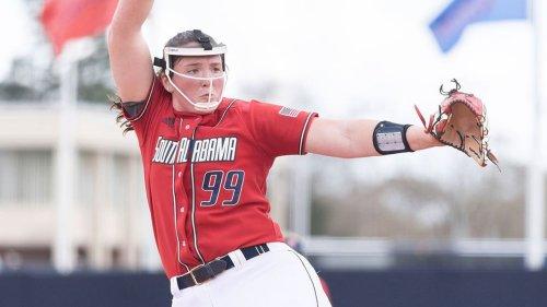 South Alabama softball blanks No. 18 Texas State