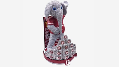 Alabama's Big Al bobblehead - with 18 championship rings - now available