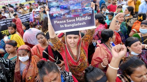 Tens of thousands rally in Bangladesh over deadly attacks on Hindu temples, homes
