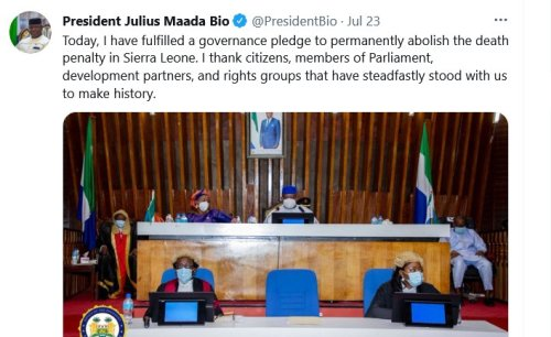 Sierra Leone - Abolition of Death Penalty a Major Victory