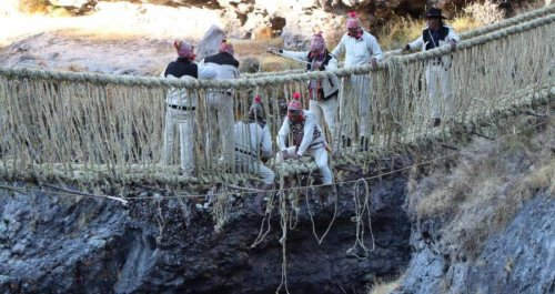 Peruvian Villagers Are Rebuilding A 500-Year-Old Incan Rope Bridge That Fell Into Disrepair During COVID