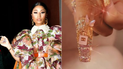Nicki Minaj's Bejeweled Manicure Is Covered in Designer Logos