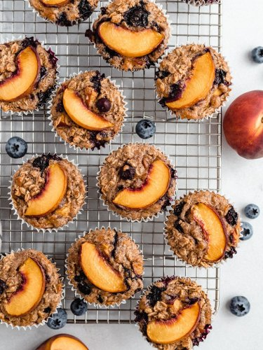 Almond Butter Peach Oatmeal Cups | Ambitious Kitchen