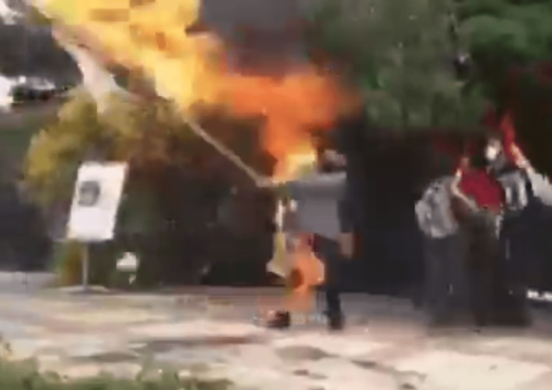 Video: Iranian man sets himself on fire while burning Israeli flag