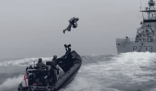 Video: British Royal Marines wear jetpacks and fly between ships in new boarding raid drill